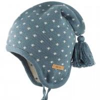 Warme Zipfelmütze Wolle Seide Strick blau