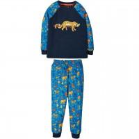 Navy Schlafanzug mit Leoparden Aufnäher