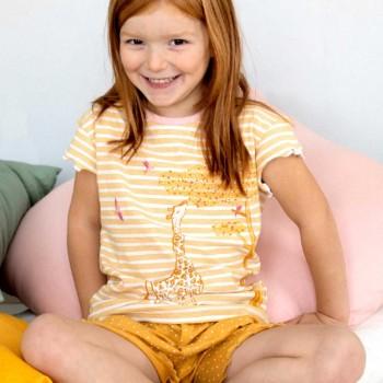Schlafanzug leicht Shorts und Shirt Giraffe