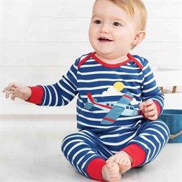Softer Babystrampler ohne Fuss Flugzeug Aufnäher