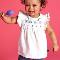 Sommer Mädchen Shirt gestickt Rüschen