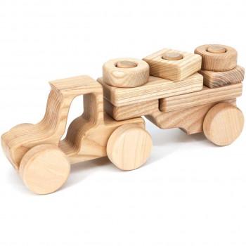 Steckspielzeug Holz Traktor mit Anhänger – ab 10 Monaten
