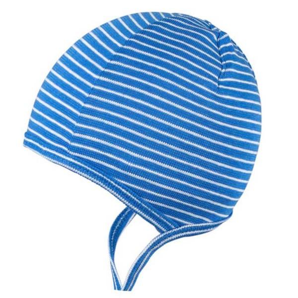 Erstlingsmütze dünn und elastisch blau