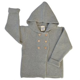 Hoodie Strickjacke Wolle Biobaumwolle Mix - neutral