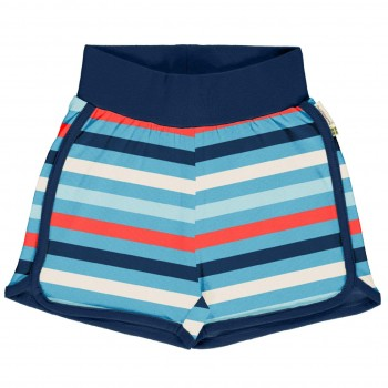Leichte Ringel Jersey Shorts in blau
