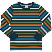 Streifen Shirt langarm Blau-/Grüntöne
