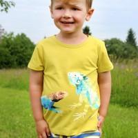 Edles T-Shirt Reptil-Druck in gelb