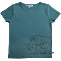 Rhinozeros gestickt Shirt kurzarm petrol