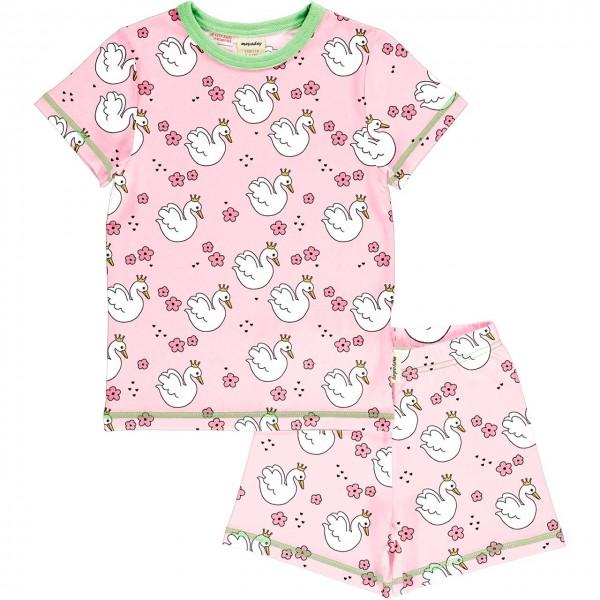Kurzer Sommer Schlafanzug Schwan rosa
