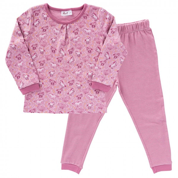 Schlafanzug rose Pferde Ringel