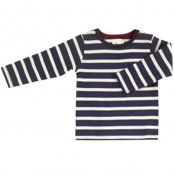 Shirt Langarm navy-beige gestreift