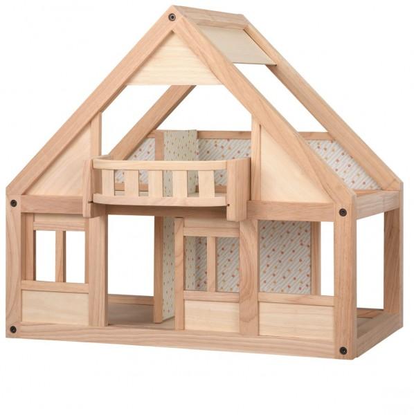 Puppenhaus naturbelassenes Holz + Tapete