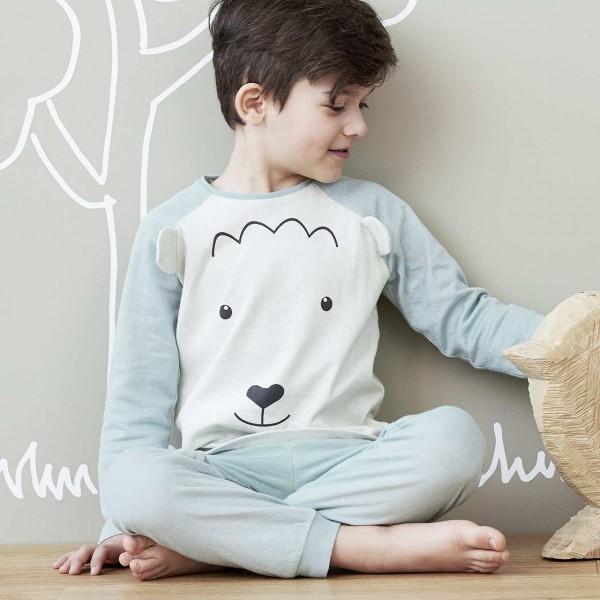 Schlafanzug blau Schaf Langarm vegan