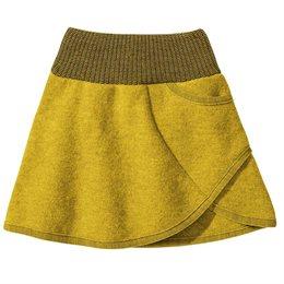 Rock Wolle mit breitem Strickbund curry