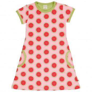 Kleid Wassermelonen rosa kurzarm