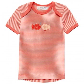 Babyshirt kurzarm Fische Aufnäher rosa-pink