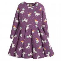 Weltraum Einhorn Mädchen Kleid langarm lila