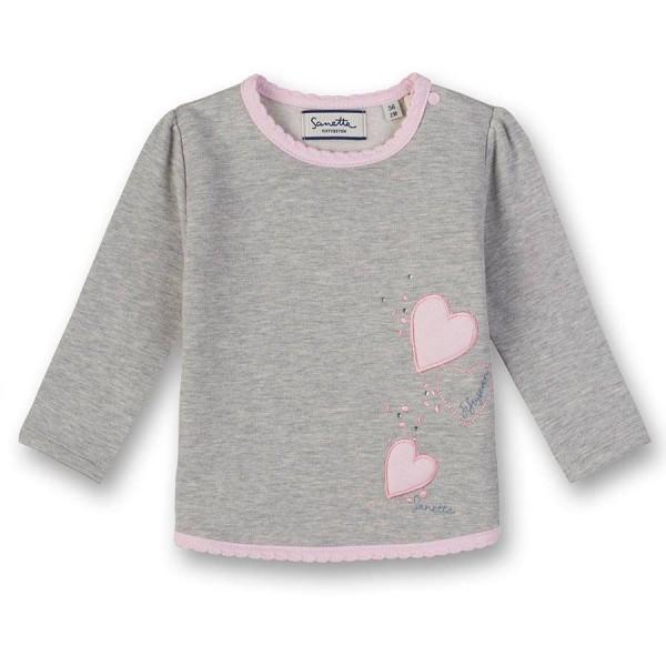 Sweatshirt grau Herz Aufnäher