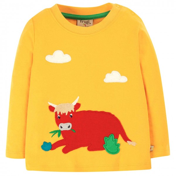 Shirt langarm Bullen Aufnäher gelb