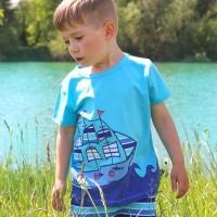 Kurzarmshirt Schiff Aufnäher blau