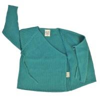 Vorschau: Wolle Biobaumwolle Strick Babyjacke - neutral mint petrol