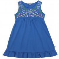 Kleid Blumen-Stickerei blau
