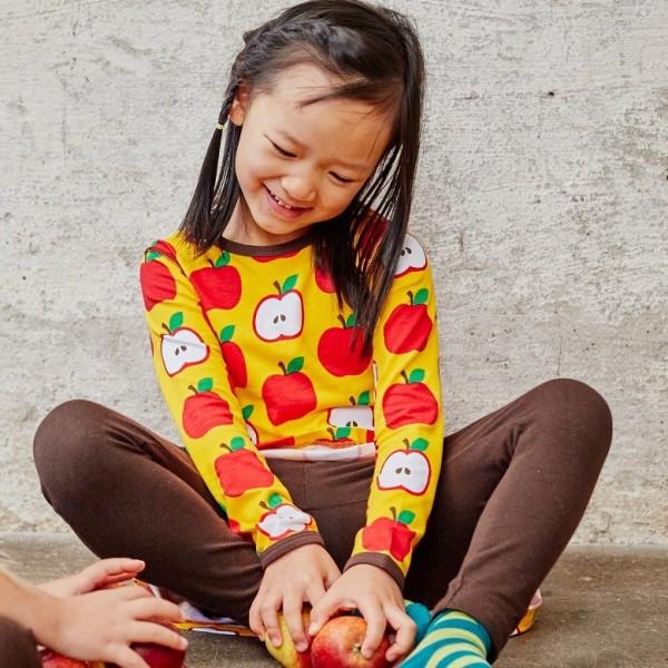 Elastisches Baby- und Kinderlangarmshirt neutral - Apfel