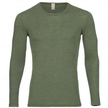 Wolle Seide Herren Langarmshirt oliv-grün