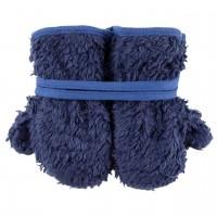 Plüsch Handschuhe Biobaumwolle blau