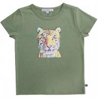 Edles T-Shirt Tiger-Druck in oliv-grün