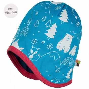 Strukturierte Mütze zum Wenden dunkelblau Winterwald