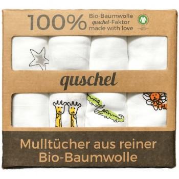 4er-Pack Mulltücher 65 x 65cm Zootiere/Sterne bunt