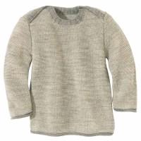 Baby Pullover Melange Schlupfkragen grau