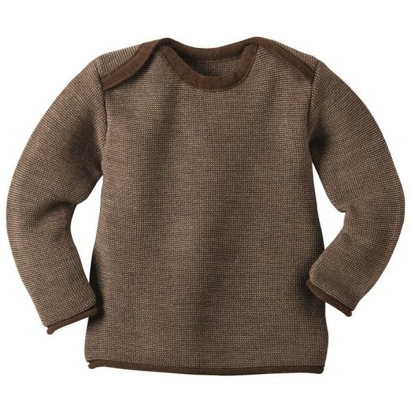 Bio Babypullover Melange-Pullover hochwertig neutral braun