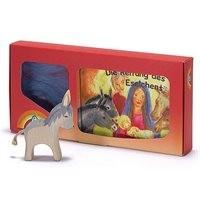 Esel und Buch mit Holzfigur