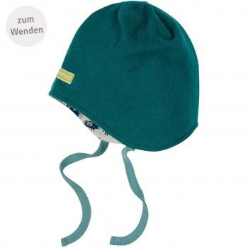 Mütze zum Wenden und Binden Fleece grün