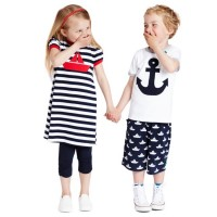 3/4 Kinder Leggings - schicke Raffung am Knie - navy