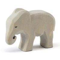 Vorschau: Kleiner Elefant fressend Holzfigur 8,5 cm hoch