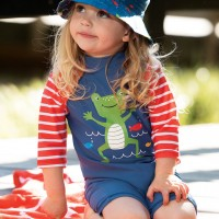 Baby Frosch Bade- Strandanzug neutral