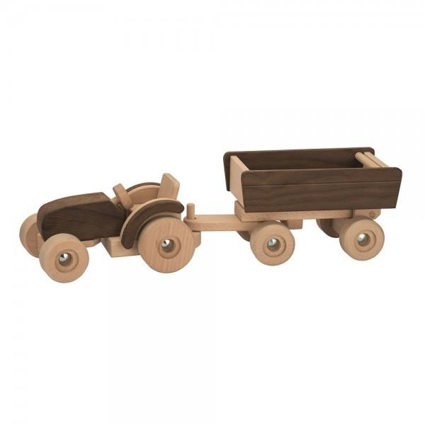 Traktor mit Anhänger aus Naturholz ab 3 Jahren