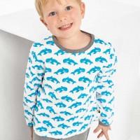 Shirt langarm Wale in türkis/hell
