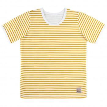 Jersey Shirt kurzarm Ringel mango-gelb