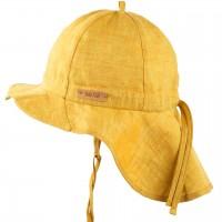 Leinen Sonnenhut verstellbar Nackenschutz gelb