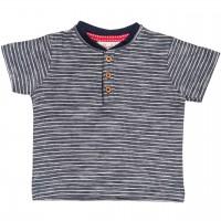 Henley Slub T-Shirt Ringel in dunkelblau