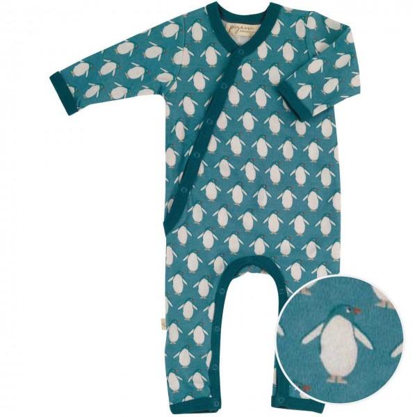 Baby Strampler mit Fußumschlag - Pinguin petrol
