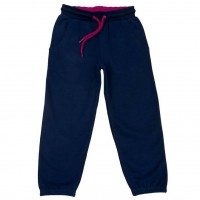 Vorschau: Warme + kuschelige Haus- & Kindergartenhose blau pink