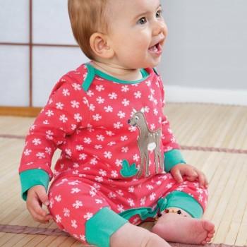 Pinker Babystrampler ohne Fuss mit Armbündchen