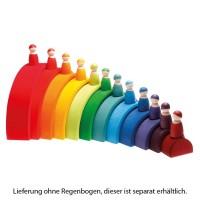 Vorschau: Regenbogen Freunde 12 Stück Massivholz