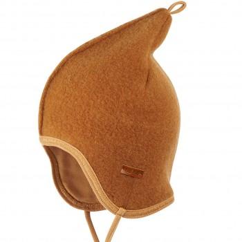 Fleece Mütze doppellagig in karamell-braun