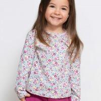 Langarmshirt Blumen-Muster rosa